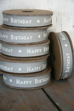 Useful grey 'Happy Birthday' ribbon, for the present drawer.
