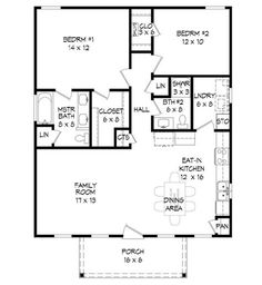 Small House Remodel Floor Plans Porches Ideas For 2019 Porch House Plans, Small House Floor Plans, Simple House Plans, House Plans And More, Cabin Plans, Simple Floor Plans, Two Bedroom House, Girls Bedroom, Master Bedroom
