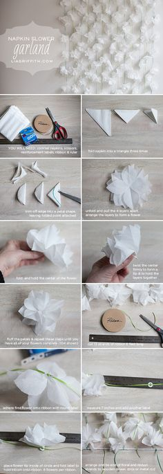 DIY Paper Napkin Flower Garland Tutorial This easy DIY garland is perfect for your baby shower, bridal shower or spring party decor. Paper Flower Garlands, Flower Backdrop, Paper Flowers Diy, Flower Crafts, Fabric Flowers, Tissue Flowers, Fast Flowers, Origami Flowers, Flower Wall