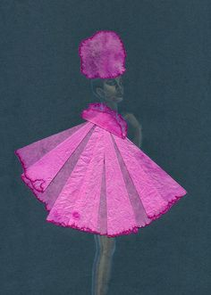 Pink Puff: A4 Giclee Printed image on A3 Cartridge paper of Audrey Hepburn in a pink cape by XrayBexArt