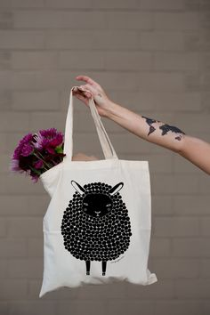 Black Sheep Tote Bag by Gingiber by Gingiber on Etsy https://www.etsy.com/listing/201958961/black-sheep-tote-bag-by-gingiber