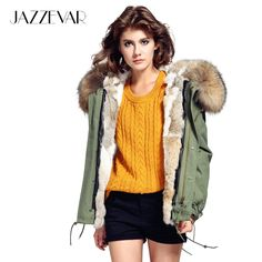 Buy JAZZEVAR Fashion woman army green Large raccoon fur collar hooded coat parkas outwear detachable rabbit fur lining winter jacket Camo Jacket Women, Red Fur, Hooded Parka, Rabbit Fur, International Fashion, Fur Collars, Winter Coat, Cowls, Winter