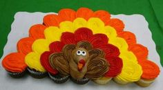 Cupcakes in the shape of a Turkey.