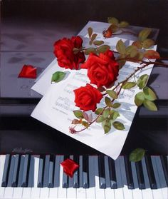 Roses on the piano Piano Keys, Piano Music, Art Floral, A Fine Romance, Music Pictures, Foto Art, Music Photo, Music Notes, Beautiful Roses