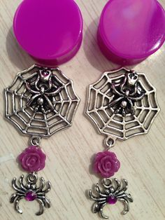 Creepy Spider Plugs Halloween by ArsenicaAccoutrement on Etsy, $25.00