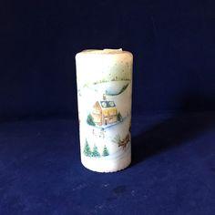 Vintage Christmas Scene Candle, Winter Candle, Festive Candle, Christmas Table Decor, White Pillar Candle, Winter Candle, Xmas Table Centre