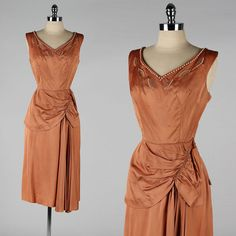 vintage 1950s dress . copper satin . by millstreetvintage on Etsy, $185.00