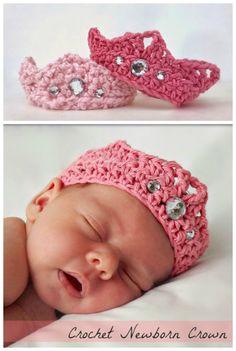 d944ad54f14 crocheted hats · DIY Crochet Newborn Baby Crown Free Pattern  Crafts
