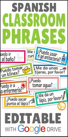 Classroom Phrases in Spanish EDITABLE with Google Drive!