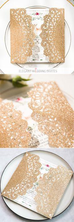 rose gold glittery boho floral laser cut wedding invitations