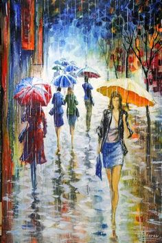 Love anything to do with rain- and the colors in this piece are wonderful.