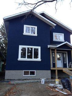 house dark blue stucco exterior white trim - Google Search