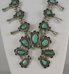 Navajo Squash Blossom Silver and Green Nevada Turquoise by Oldndnshop on Etsy