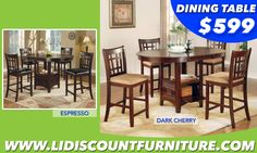 Counter Height Table & 4 Tables