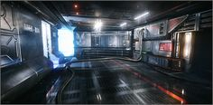 A DICE artist currently working on Battlefield 3 has thrown together a mockup of the interior of a Halo ship using CryEngine a snowball's chance in hell that the Halo franchise will ever find a home on the much more powerful engine, but thi Halo Ships, Spaceship Interior, Sci Fi News, Sci Fi Environment, 3d Artist, Finding A House, Sci Fi Art, Game Art, Science Fiction