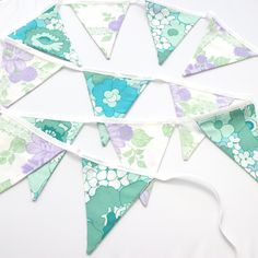 Floral Bunting Flags Purple, Blue & Green Summer Garden Decoration
