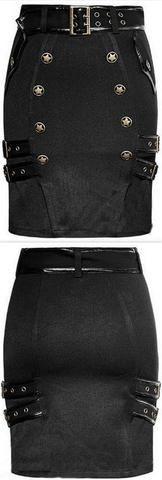 Button-Embellished Black Buckled Mini-Skirt