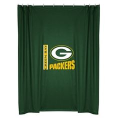 """Kids Green Bay Packers Fabric Shower Curtain. This Packers shower curtain is perfect for any bathroom or dorm shower. It is a standard 72"""" x 72"""" with grommets at the top. Made of wrinkle free polyester jersey. The Green Bay logo is screen printed boldly in the center. Show your Green Bay spirit even while you shower! Go Packers!!"""