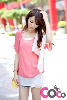 Peach Pink Chiffon Wrinckled Korean Fashion Cute T-Shirt