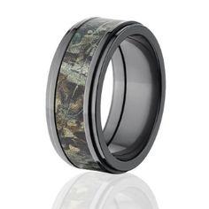 RealTree Rings, Camouflage Wedding Bands, Black Zirconium Ring, RealTree Timber Camo Bands