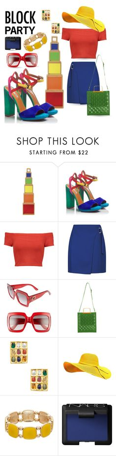 """Block Party"" by queenofsienna ❤ liked on Polyvore featuring Guidecraft, Fratelli Karida, Alice + Olivia, Gucci, Sophie Hulme, Amrapali and NARS Cosmetics"