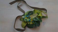 Handmade necklace in soft tissue, dark green-leaf. beatrice.cianfrui@facebook.com