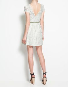 LACE DRESS WITH CROSSOVER AT THE BACK - Dresses - Woman - ZARA United States