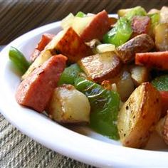 Kielbasa with Peppers and Potatoes Allrecipes.com