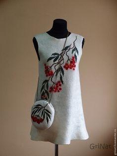 """Платье-туника""""Рябина"""" - белый,grinat,платье валяное,валяние из шерсти"""