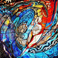 Detail of the Cosmovitral stained glass mural by Leopoldo Flores, at the Toluca, México botanical garden.