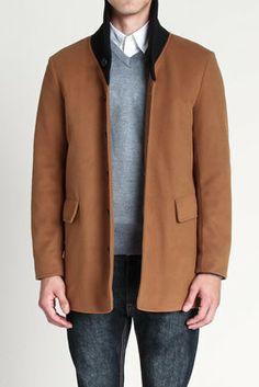 Slim Shawl Collar Wool Blend Coat