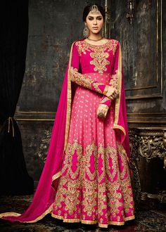 Beautiful Cherry Pink and Magenta #Anarkali #Suit