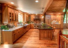 Log Home Kitchens -The kitchen in this timber frame home is a luxury Craftsman design made by Crown Point Cabinetry. Rustic Country Kitchens, Rustic Farmhouse, Rustic Homes, Farmhouse Style, Log Home Kitchens, French Kitchens, Open Kitchens, Dream Kitchens, Crown Point Cabinetry