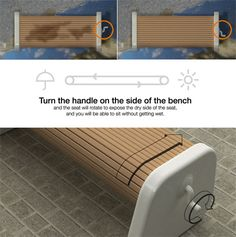 What sucks are all those wet benches and chairs following a rainstorm. Fortunately clever designers Sungwoo, Yoonha and Eunbi came up with a simple solution. The slats on these benches can rotate to the dry side by cranking the handle.