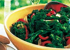 Broccoli and Broccoli Rabe with Roasted Red Peppers: Recipe: bonappetit.com