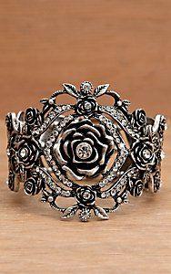 Wear N.E. Wear® Antique Silver Rose and Rhinestone Bracelet (Cavenders!) $20