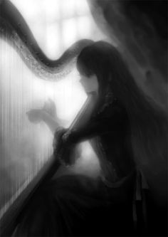 Anime Girl Musician Harp Monochrome