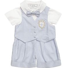 Little Darlings boys adorable blue striped three piece outfit, perfect for a special occasion. It features a cute shortie, in a classic and traditional style, with a smart white bodice and attached striped shorts with turned up cuffs. It comes with a matching waistcoat with an ornate logo crest appliqued on the chest and a sweet bow tie with a velcro fastening at the back.<br /> <ul> <li>3 piece set</li> <li>100% cotton (textured seersucker)</li> <li>Machine wash (30*C)</li> </ul>