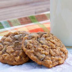 Pumpkin-Oatmeal Chocolate Chip Cookies Recipe Desserts with flour, old-fashioned oats, quick oats, cinnamon, baking soda, salt, butter, brown sugar, granulated sugar, pumpkin purée, eggs, vanilla, semi-sweet chocolate morsels