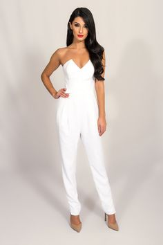 """KEEPSAKE WHITE HOLDING BACK PANTSUIT 