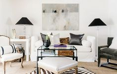 A perfect blend of vintage pieces and modern accents characterize this chic home