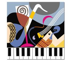 Music is a piece of art that goes in the ears straight to the heart. Music Painting, Music Artwork, Art Music, Musik Illustration, Illustration Art Nouveau, Harmony Music, Art Simple, Piano Art, Cubism Art