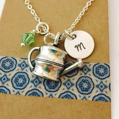 Initial gardening necklace, Hand stamped initial charm, Swarovski birthstone crystal, Personalized Initial Necklace