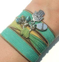 Hamsa Silk Wrap Bracelet Yoga Jewelry by BohemianEarthDesigns, $25.95