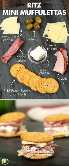 These RITZ cracker Mini Muffulettas taste like they came straight from New Orleans! Top a RITZ Fresh Stacks Italian Herb flavored cracker with Swiss cheese, deli ham, Genoa salami, and provolone cheese. Spread a cream cheese and olive salad mixture onto another cracker and place on top. Serve these tasty appetizers to all your friends this spring and you'll be the life of the party!