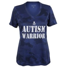 Help fight for change in our comfortable yet stylish  Autism Warrior V-neck tee.  T-Shirt is made of 100% polyester which allows for the comfort you need. Buy here: http://shop.autismspeaks.org/store/p/21206-Autism-Warrior-Ladies-Camo-V-Neck.html