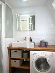 Panier linge dans meuble de salle de bain salle de for Amenagement petite salle de bain avec machine a laver