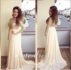Sparkling Beading Prom Dressess Long Chiffon Plus Size Formal Dresses Evening Wear 3/4 Sleeves Sweep Train 2016 Summer Beach Party Gowns Online with $143.89/Piece on Marrysa\'s Store | DHgate.com