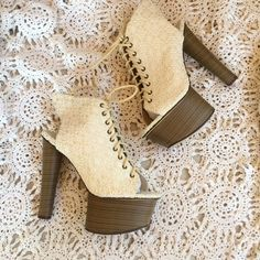 Crochet cream lace up heels New in box size 39. Kerol d brand sold @ nastygal Nasty Gal Shoes Heels