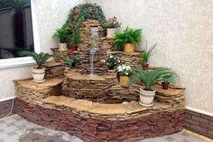 Garden Pond Design, Front Yard Garden Design, Garden Yard Ideas, Backyard Patio Designs, Ponds Backyard, Garden Waterfall, Waterfall Fountain, House Plants Decor, Plant Decor
